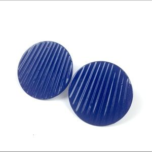 VTG 60s metal earrings royal blue round circle mod